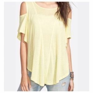 We the Free Yellow Cold Shoulder Seamed Top Sz.S